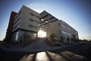 Images of the newly opened Greenspun Hall, November 21, 2008 at the University of Nevada, Las Vegas. (Aaron Mayes / UNLV Photo Services) CLIENT: SELF ASSIGNED BUILDING, FACILITY, SPACE, BRICKWORK, SUNLIGHT, SOLAR, SKY